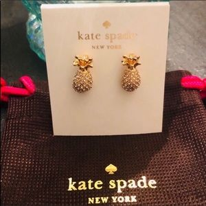 Kate Spade NWT Pineapple Pave Gold Studs Earrings